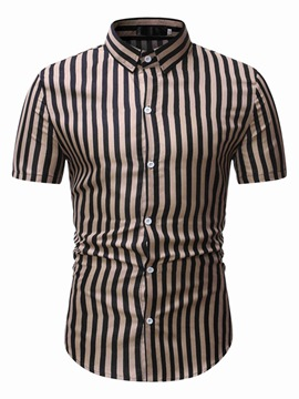 Ericdress Casual Stripe Lapel Slim Single-Breasted Shirt