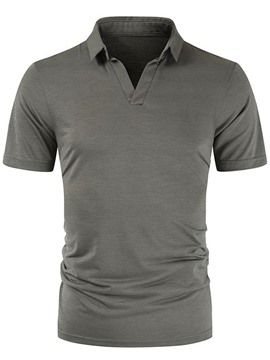 Ericdress Polo Neck Casual Plain Polo Shirt