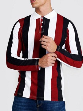 Ericdress Stripe Polo Neck Casual Polo Shirt