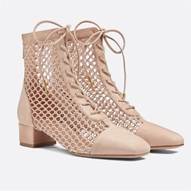 Ericdress Plain Back Zip Square Toe Lace-Up Boots