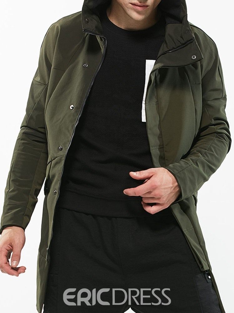 Ericdress Mid-Length Hooded Casual Winter Trench Coat