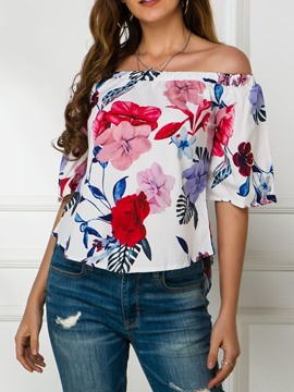 Ericdress Off Shoulder Print Half Sleeve Standard Blouse