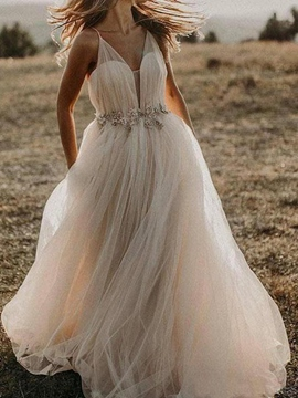 Ericdress Sleeveless Floor-Length Appliques A-Line Hall Wedding Dress