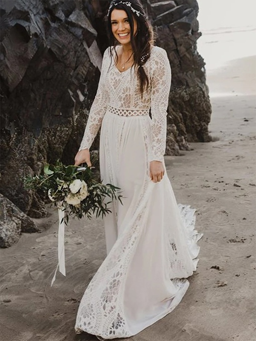 Ericdress A-Line Floor-Length Lace V-Neck Church Wedding Dress