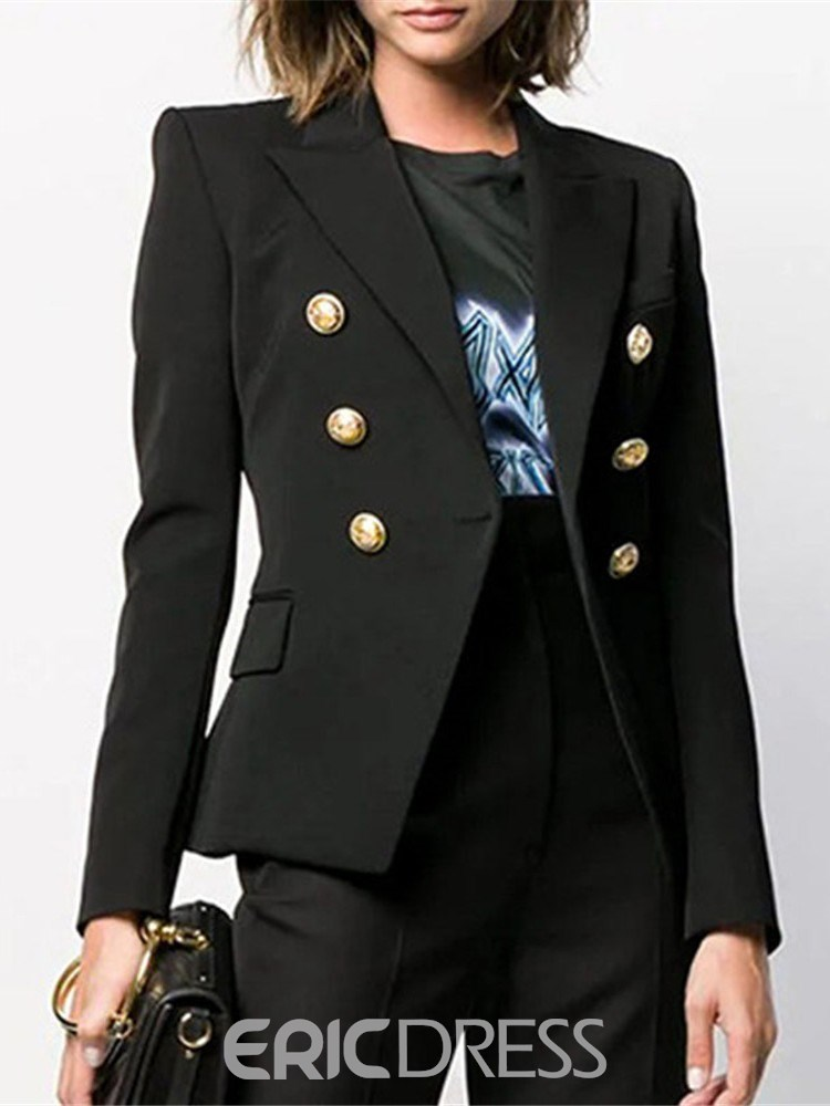 Ericdress Houndstooth Double-Breasted Long Sleeve Standard Fall Casual Women's Blazer