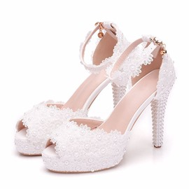 Ericdress Heel Covering Peep Toe Line-Style Buckle Appliques Sandals