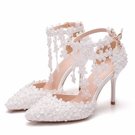 Ericdress Line-Style Buckle Heel Covering Pointed Toe Floral Sandals