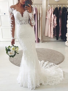 Ericdress Lace Floor-Length Trumpet/Mermaid Scoop Garden/Outdoor Wedding Dress