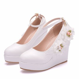 Ericdress Wedge Heel Line-Style Buckle Round Toe Floral Thin Shoes