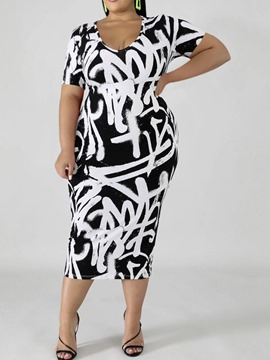 Ericdress Plus Size Short Sleeve Scoop Print Pullover Women's Dress