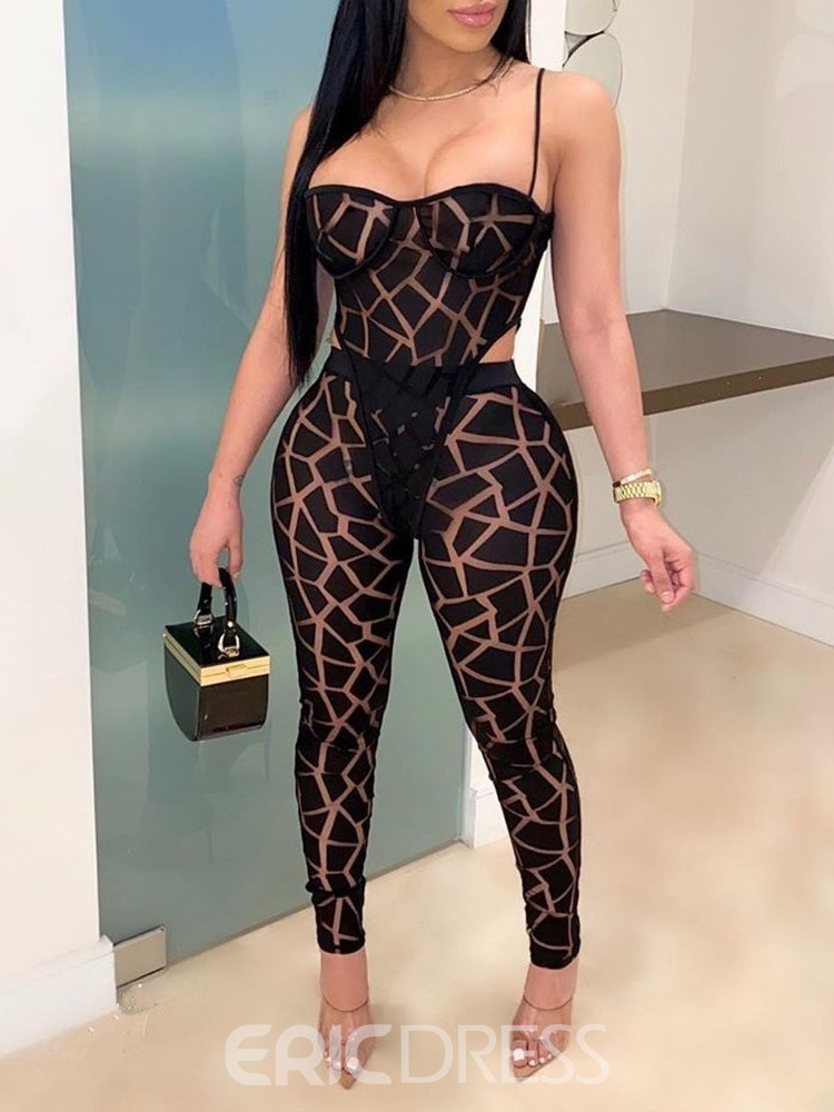 Ericdress Sexy Jumpsuit Print Pencil Pants Pullover Women's Two Piece Sets