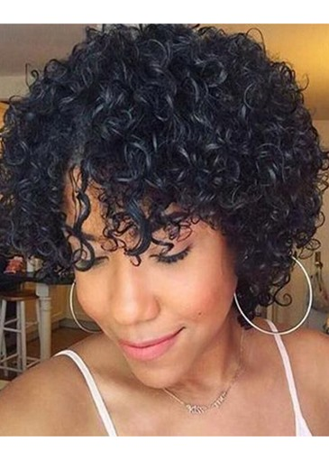 Ericdress Afro Kinky Curly Women's Short Curly Hairstyles Human Hair Wigs With Bangs Lace Front Wigs 10Inch