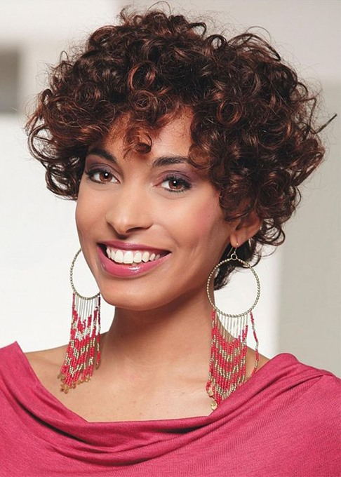 Ericdress Women's Afro Kinky Curly Hairstyles Curly Human Hair Wigs With Bangs Lace Front Cap Wigs 8Inch