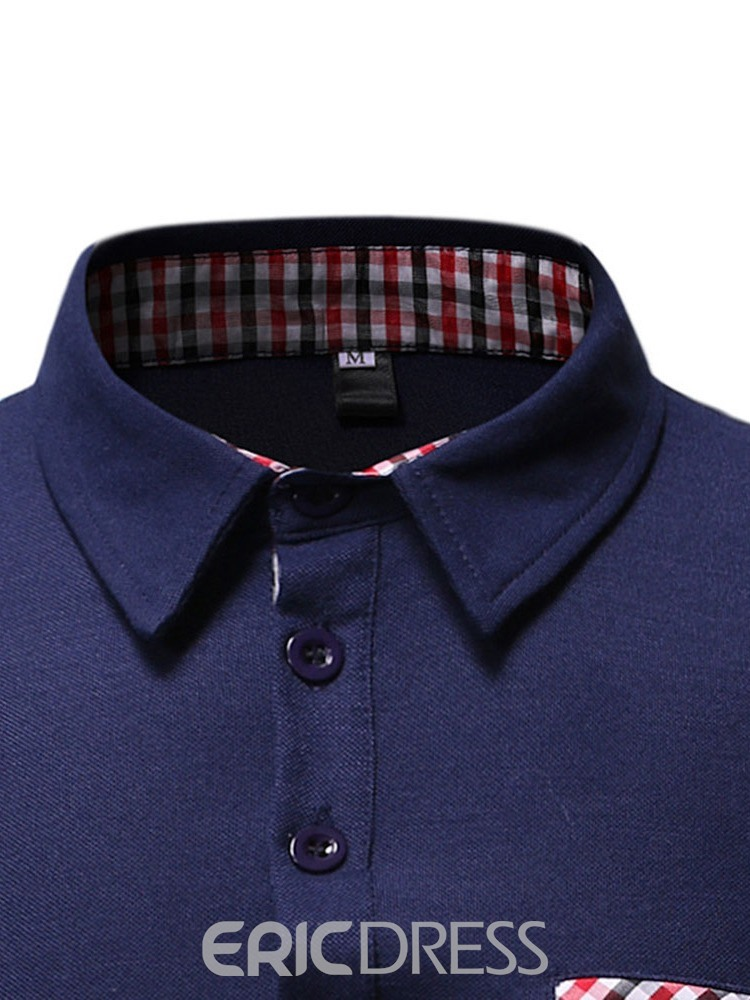 Ericdress Plaid Casual Patchwork Polo Shirt