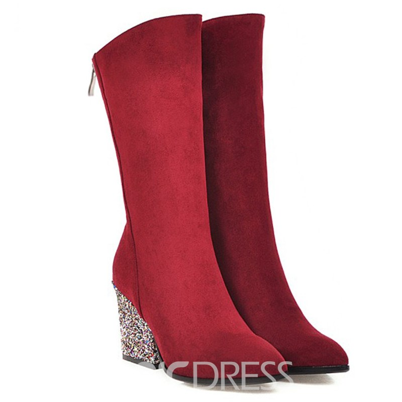 Ericdress Plain Pointed Toe Back Zip Women's Boots