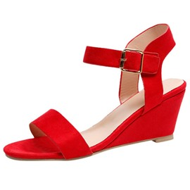 Ericdress Round Toe Buckle Wedge Heel Plain Sandals