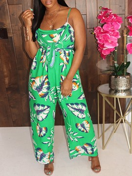ericdress jumpsuit holgado con estampado occidental de cuerpo entero