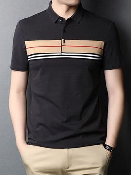 Ericdress Polo Neck Stripe Print Men's Shirt