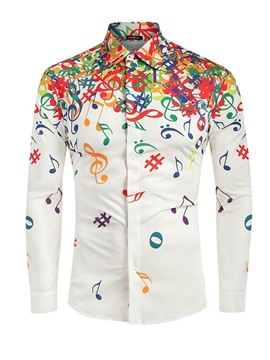 Ericdress Print Casual Lapel Single-Breasted Fall Men's Shirt