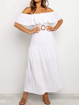 Ericdress Half Sleeve Ankle-Length Off Shoulder Plain A-Line Women's Dress