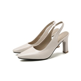 Ericdress Chunky Heel Slip-On Square Toe Low-Cut Upper Sandals