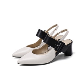 Ericdress Slip-On Chunky Heel Pointed Toe Thread Sandals