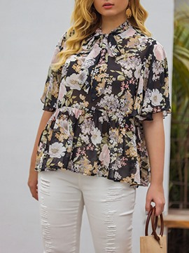 Ericdress Floral Print Short Sleeve Standard Women's Blouse