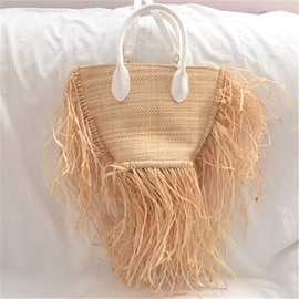 Ericdress Plain Knitted Grass Tote Bags