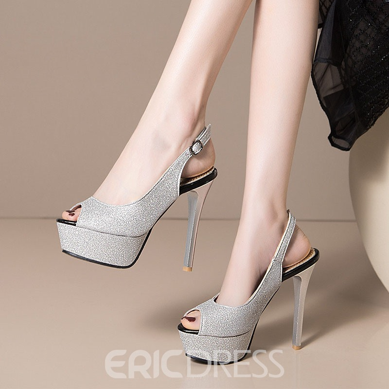 Ericdress Chunky Heel Slip-On Peep Toe Platform Sandals
