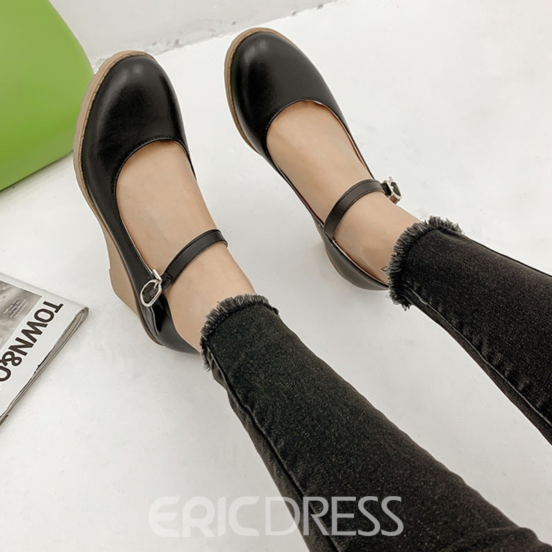 Ericdress Wedge Heel Buckle Round Toe Casual Thin Shoes