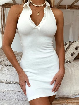 Ericdress Polo Neck Above Knee Sleeveless Plain Women's Casual Dress