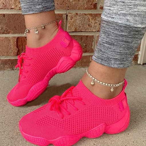 Ericdress Lace-Up Lace-Up Round Toe Casual Sneakers