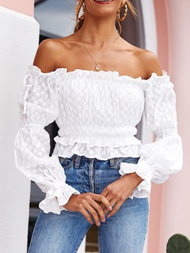 Ericdress Plain Off Shoulder Long Sleeve Short Blouse