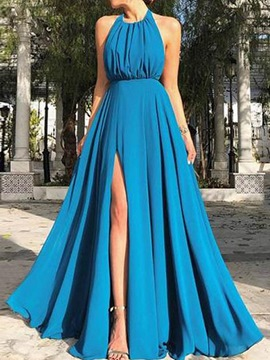 Ericdress Floor-Length Split Sleeveless High Waist Halter Women's Dress