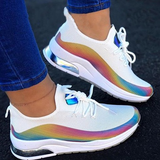 Ericdress Color Changing Low-Cut Upper Round Toe Lace-Up Color Block Sneakers