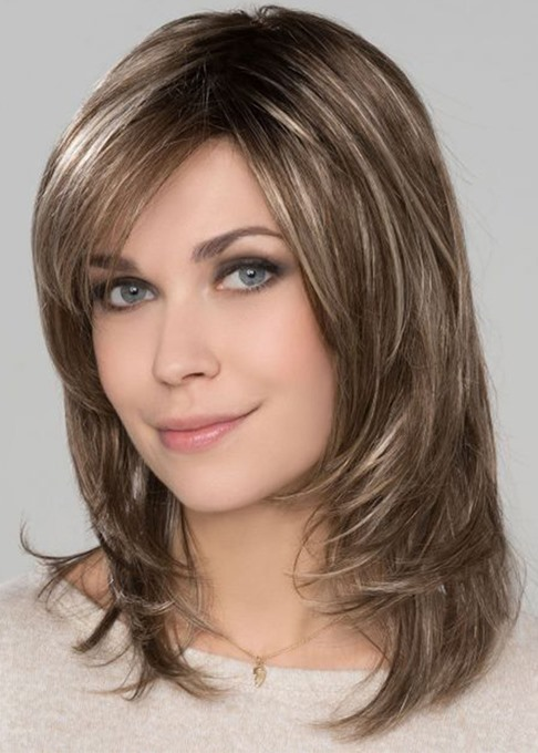 Ericdress Women's Medium Length Hairstyles Natural Straight Layered Human Hair Lace Front Wigs 14Inch