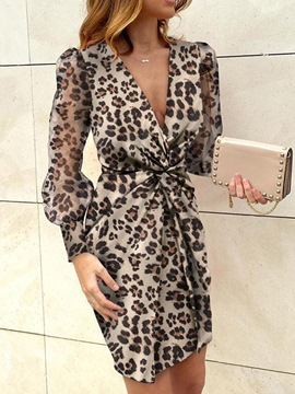 Ericdress Above Knee Long Sleeve Print Bodycon Pullover Dress