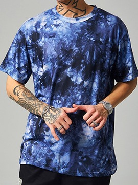 Ericdress Color Block Round Neck Tie-Dye Loose Short Sleeve Men's T-shirt