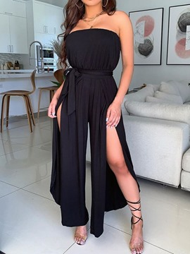 Ericdress Simple Split Full Length Mid Waist Wide Legs Women's Jumpsuit