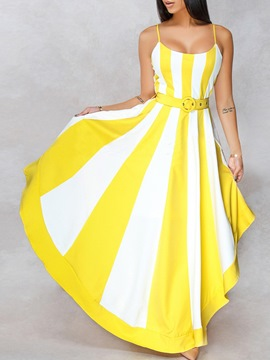 Ericdress Print Floor-Length Sleeveless Sweet Stripe Dress