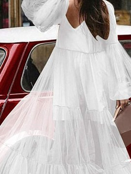 Ericdress V-Neck Floor-Length Long Sleeve Sweet A-Line Dress