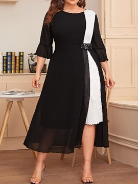Ericdress Mid-Calf Round Neck Patchwork Pullover Plus Size Dress