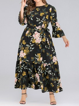 Ericdress Nine Points Sleeve Print Ankle-Length A-Line Floral Dress