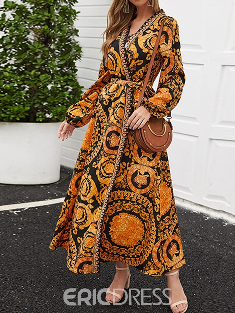 Ericdress Long Sleeve Print Ankle-Length Fall Floral Dress