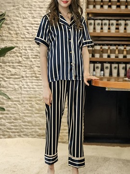 Ericdress Casual Polyester Shorts Sleeve Sleep Top Pajama Suit