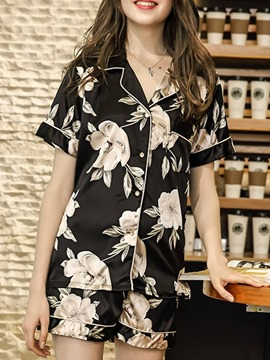 Ericdress Casual Polyester Shorts Sleeve Sleep Top Pajama Women's Suit