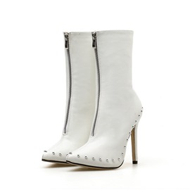 Ericdress Pointed Toe Plain Front Zipper PU Boots