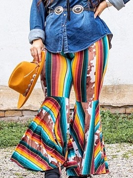 Ericdress Stripe Print Loose Bellbottoms Full Length Casual Pants