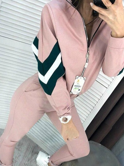 Ericdress Cotton Blends Color Block Running Zipper Clothing Sets