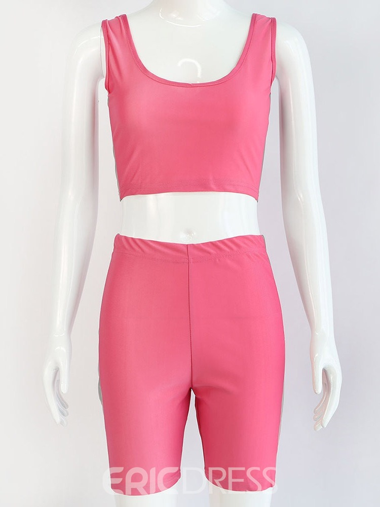Ericdress Fluorescent Color Polyester Shorts Pullover Clothing Sets